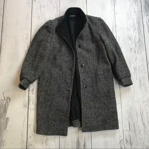 Vintage Wool trench Coat 90's Silver Grey